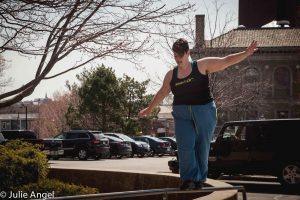 Sarah Goshman balance on rail